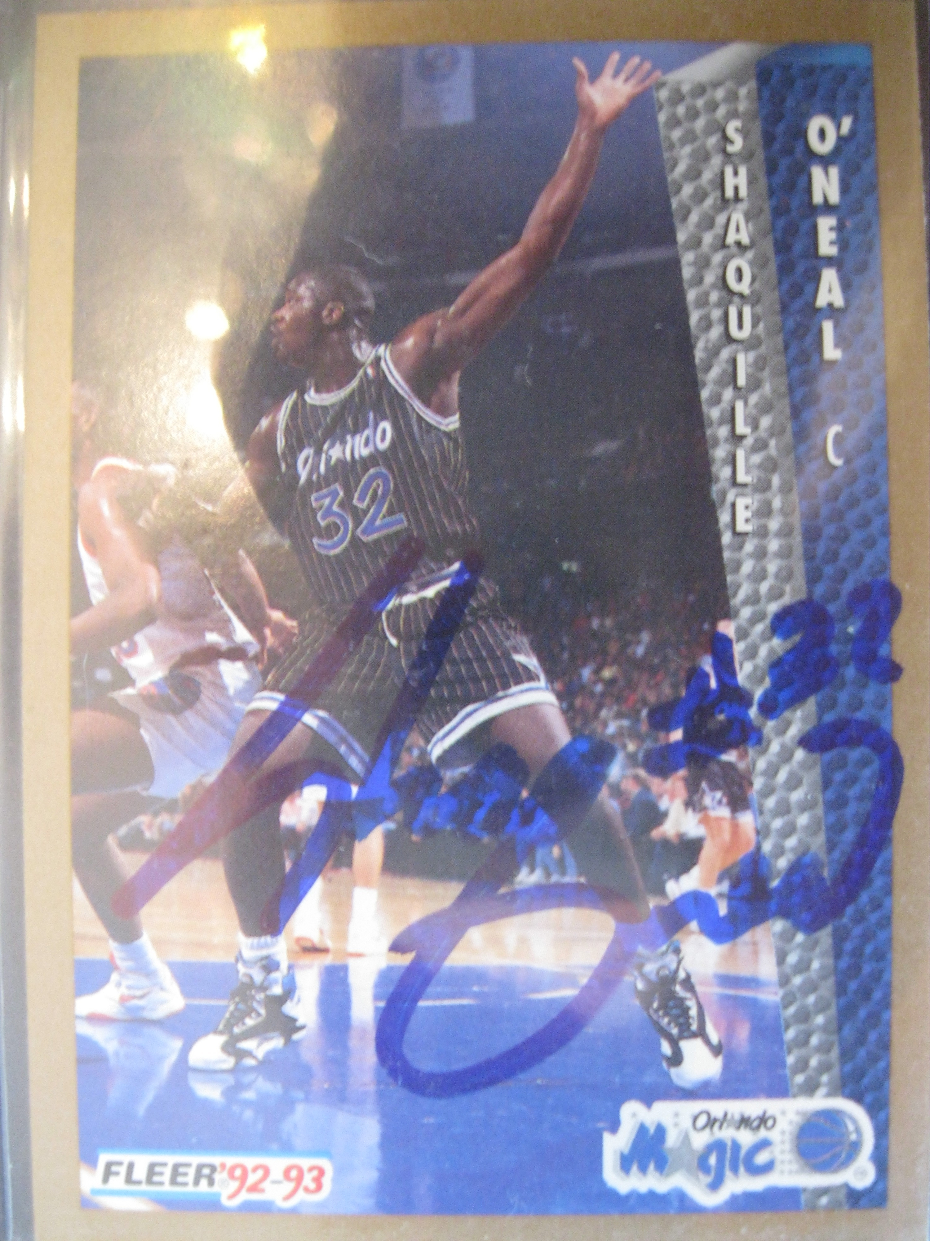 Shaquille Oneal Old School Autographed 92 93 Fleer Rookie
